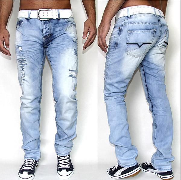 new collection designer herren jeans hellblau hose denim gr w28 w36 8003 ebay. Black Bedroom Furniture Sets. Home Design Ideas