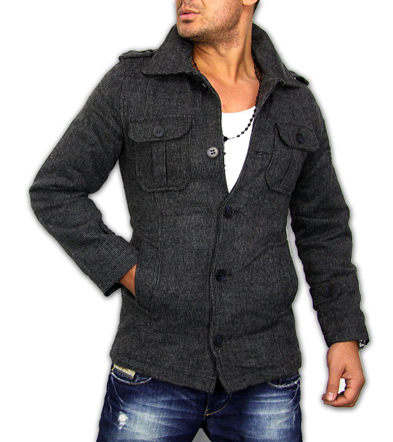 2012 new season slim fit herren kurz mantel jacke top qualit t grau. Black Bedroom Furniture Sets. Home Design Ideas
